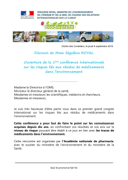 Consulter le discours de Mme Ségolène Royal (PDF