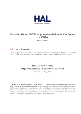 Protéine kinase GCN2 et phosphorylation de l`intégrase - Tel
