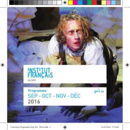 Consultez le programme de l`automne 2016 de l`Institut français d