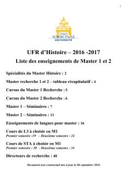 Liste des enseignements Master 2016-2017