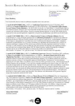 Consulter le programme détaillé - Société Royale d`Archéologie de