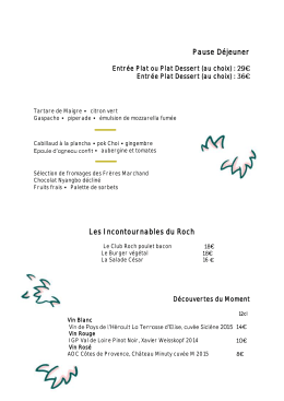 Pause Déjeuner Les Incontournables du Roch