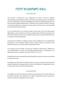 STATUT DES ASSISTANTS (N.P.A.)