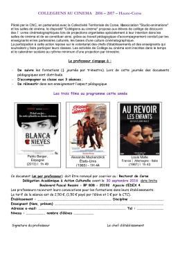 Formulaire d`inscription Collège au Cinéma 2B