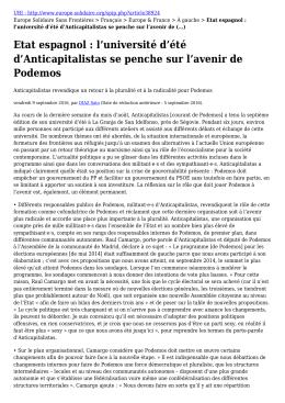 l`université d`été d`Anticapitalistas se penche sur l`avenir de Podemos