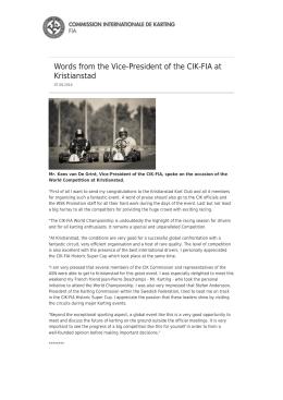 Allocution du Vice-Président de la CIK-FIA à