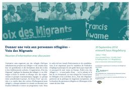 Donner une voix aux personnes réfugiées – Voix des Migrants