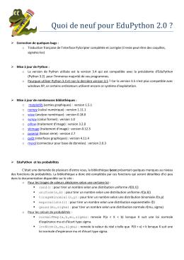 Quoi de neuf pour EduPython 2.0