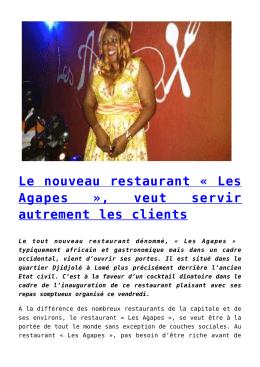 Le nouveau restaurant « Les Agapes », veut