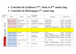 Contrôles de Synthèses 2ème, 3ème et 4ème années Ing