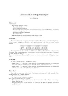 Exercices sur les tests paramétriques
