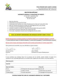 INVITATION SPÉCIALE - École Saint-Albert-le