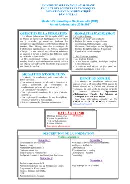 Appel à candidature - Faculté des Sciences et Techniques de Beni