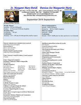 September 2016 Septembre ier - St. Margaret Mary Parish Paroisse