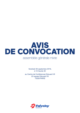 avis de convocation - Faiveley Transport