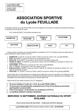 ASSOCIATION SPORTIVE du Lycée FEUILLADE