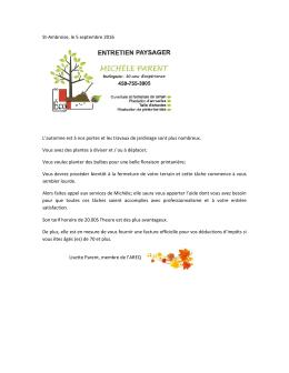 St-Ambroise, le 5 septembre 2016 L`automne est à nos