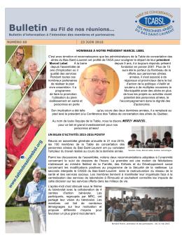 60 e Bulletin - Table des personnes aînées du Bas-Saint