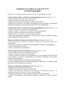 Compétences travaillées au cycle 4 (5 -4 -3 ) en histoire
