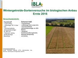 Wintergetreide-Sortenversuche im biologischen Anbau Ernte 2016