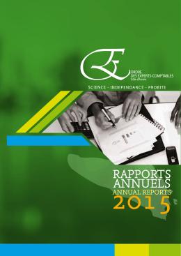 OEC-CI : Rapports Annuels 2015 - L`Ordre des Experts Comptables