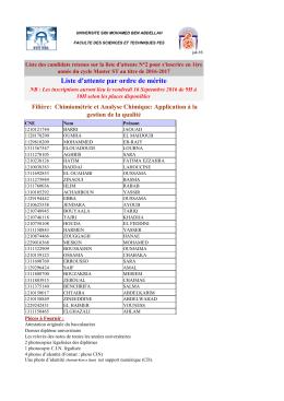 2. Liste d`attente : Chimiométrie et Analyse Chimique