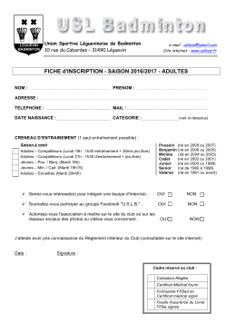 FICHE d`INSCRIPTION - SAISON 2016/2017 - ADULTES