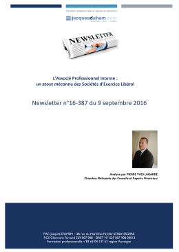 Newsletter n°16-387 du 9 septembre 2016