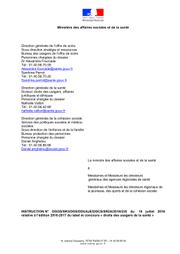Instruction n° DGOS/SR3/DGS/DDUAJE/DGCS/SR2A/2016/235 du