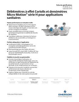 Débitmètres et densimètres aseptiques Micro Motion® série H
