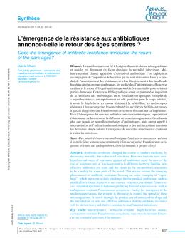 L`émergence de la résistance aux antibiotiques annonce-t