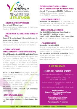 A vOS AGENdAS - Communauté de Communes du Val d`Amour