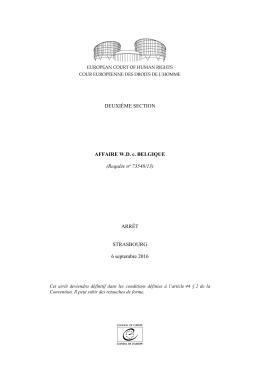 DEUXIÈME SECTION AFFAIRE W.D. c. BELGIQUE (Requête no