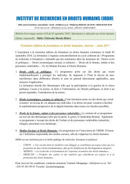 Troisième édition de formation en droits humains, Janvier