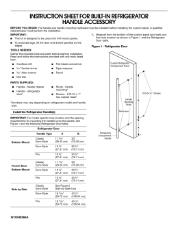 instruction sheet for built-in refrigerator handle accessory - Jenn-Air