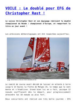 VOILE : Le doublé pour EFG de Christopher Rast !
