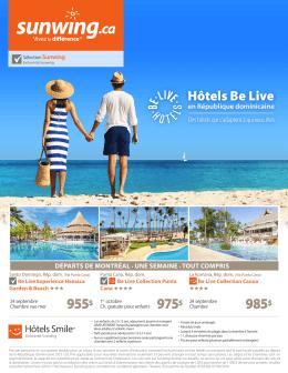 Les hôtels Be Live en République dominicaine au départ de