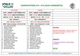 CONVOCATION A B LE SAMEDI 10 SEPTEMBRE 2016