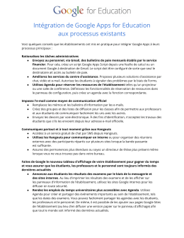 Intégration de Google Apps for Education aux processus existants