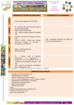 Les Infos du Sollier n°1 - Lycée d`Enseignement Agricole du Cher