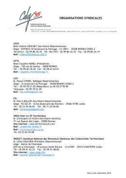 adresses syndicats et délégués septembre 2016