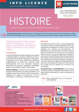 Fiche info licence – Histoire