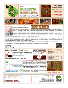 Bulletin municipal, édition SEPTEMBRE 2016