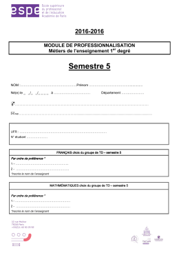 Fiche d`inscription semestre 5 - Université Paris