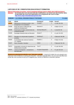 Liste des cours du 2ème cycle Bachelor, orientation éducation et