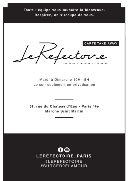 Menu Take Away - Le Réfectoire