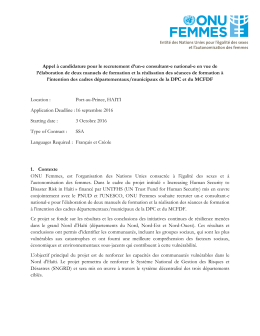 Termes de references - Procurement Notices