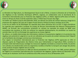 Diapositive 1 - Ministère de l`Agriculture , du Développement Rural