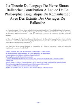 La Theorie Du Langage De Pierre-Simon Ballanche: Contribution A