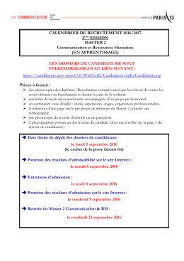 CALENDRIER DE RECRUTEMENT 2016/2017 2ème SESSION